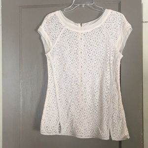 Cream lace blouse with zipper detail
